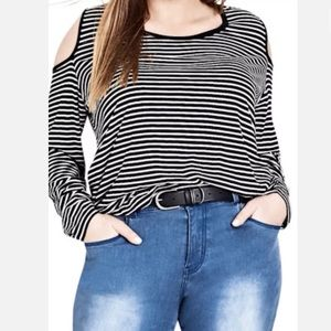 CITY CHIC Striped Cold Shoulder Stretchy Top BNWT